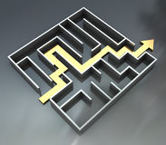 Maze with arrow route Stock Photos