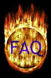 Maze Ball with FAQ. Burning Labyrinth Sphere with frequently asked questions letters. E.g. as button Stock Photography