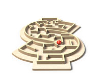 Maze ball game in money shape box, 3D illustration Royalty Free Stock Images
