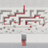 Maze bend with red arrow Stock Photos
