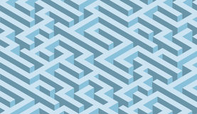 The maze, blue labyrinth - endless Royalty Free Stock Images