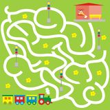 Maze, board game for children, train. Maze,board game for children. The train is looking for the right way to the station. Vector icon Stock Photo