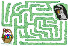 Maze bunny and Easter eggs Stock Photography