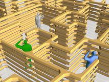 The maze of business. Businessman searching his way, being lost in the administrative maze. 3D illustration, background vector illustration