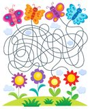 Maze 24 with butterflies and flowers Royalty Free Stock Photos