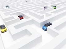 Maze and cars. Varicoloured machines search an exit in a white labyrinth Stock Image