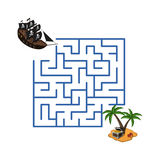 Maze in cartoon style. Pirate ship and treasure island. Children`s game labyrinth. Kids puzzle. Vector illustration Stock Images