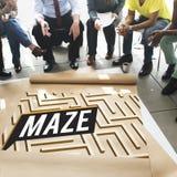 Maze Challenge Confusion Direction Exit banabegrepp Royaltyfri Fotografi