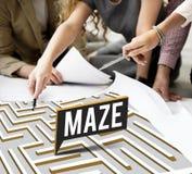 Maze Challenge Confusion Direction Exit banabegrepp Fotografering för Bildbyråer