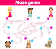 Maze game. Help princess find pet. Activity for children and kids. Maze children game: connect princess with pets. Kids activity sheet vector illustration