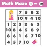 Maze game, animals theme. Kids activity sheet. Mathematics labyrinth with numbers. Counting from one to ten. Maze children game: help the dog go through the vector illustration