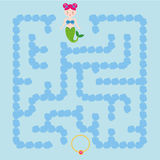 Maze children game. help the mermaid go through the labyrinth and find treasure Royalty Free Stock Photo