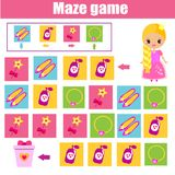 Maze game. Kids activity sheet. Logic labyrinth with code navigation. Maze children game: help princess find way. Kids activity sheet. Logic game with code and Royalty Free Stock Image