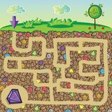 Maze for children - nature, stones and precious stones under the ground. Get the path to the diamond Royalty Free Stock Photography