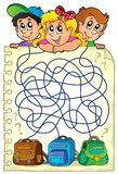 Maze 23 with children and schoolbags Royalty Free Stock Images