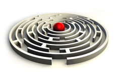 Maze circles and red ball in the center of the labyrinth Stock Photography