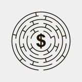 Maze circular inside dollar puzzle gray Stock Photos