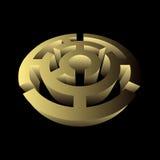 Maze circular volumetric 3d puzzle game gold.  Stock Image