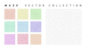 Maze collection. Vector set of the 10 mazes isolated on white background Royalty Free Stock Photography