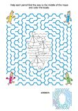 Maze and coloring activity page for children with boats and pencils Stock Image