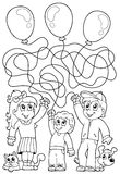 Maze 8 coloring book with children Royalty Free Stock Images