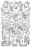 Maze 9 coloring book with children Royalty Free Stock Photos
