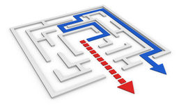 Maze concept. One maze with a red arrow that goes out not following the right way and a blue arrow that follows the right path (3d render Stock Photo