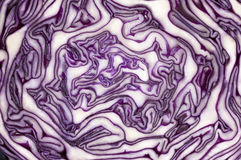 A maze created by nature. Red cabbage in cross section. Mysterious maze of vegetable Royalty Free Stock Images
