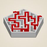 Maze 3d labyrinth with solution Royalty Free Stock Photo