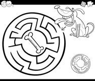 Maze with dog coloring page Royalty Free Stock Photos