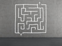 Maze. Drawing maze on wall with way to success on wall Stock Image
