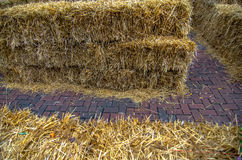 Maze for either people or livestock to navigate made from straw Stock Images