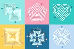 Maze entrance. Find right way, kids labyrinth game and choice mazes entrances letters vector illustration set. Maze entrance. Find right way, kids labyrinth game stock illustration