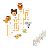 Maze. Find hidden right way. Task and answer. Game for children. Search and choose correct path. Find hidden right way Stock Photos