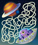 Maze 15 with flying saucer. Eps10 vector illustration royalty free illustration