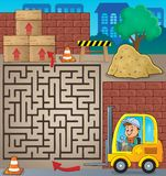 Maze 3 with fork lift truck theme Royalty Free Stock Photo
