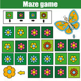 Maze game, animals theme. Kids activity sheet. Logic labyrinth with code navigation Stock Images