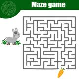 Maze game: animals theme. Kids activity sheet Royalty Free Stock Photography