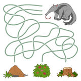 Maze game: anteater and anthill Royalty Free Stock Photos