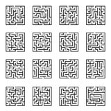 Maze Game background. Labyrinth with Entry and Exit. Maze game background set. Labyrinth with Entry and Exit. Vector Illustration stock illustration
