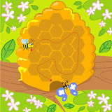Maze game with bee and butterfly stock illustration