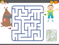 Maze game with boy and dog. Cartoon Illustration of Education Maze or Labyrinth Leisure Game with Boy and Dog Stock Photos