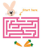 Maze game: bunny & carrots. Maze game for kids: Help the bunny find the way to the carrots Stock Photography
