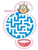 Maze game: cat and milk. Maze game for kids: Help the cat find the way to the milk Royalty Free Illustration