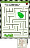 Maze game with caterpillar and green leaf Stock Photography