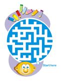Maze game: child and pencils. Help the child find the way to the pencils Royalty Free Illustration