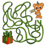 Maze game for children: bear and gift Royalty Free Stock Photo
