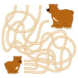 Maze game for children (bears family) Stock Image