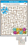 Maze game with bees and flowers royalty free illustration