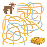 Maze game. Game for children: Maze game (bull and hay Stock Images